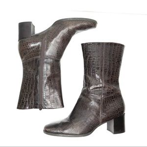 Easy Spirit Brown Croc Square Toe Boots